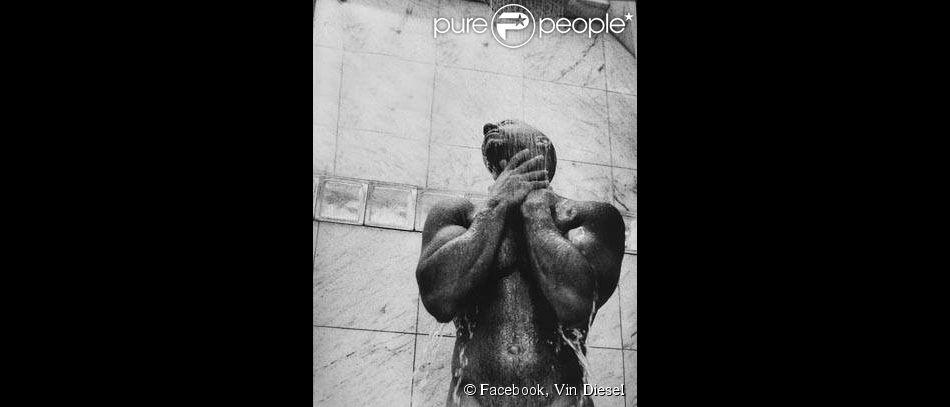 Vin Diesel pose nu sous la douche, le 18 août 2014 sur Facebook.