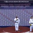 Teddy Riner, sur la plus haute marche du podium après avoir été sacré champion du monde des + 100 kilos pour la sixième fois de sa carrière, le 30 août 2014 à Chelyabinsk