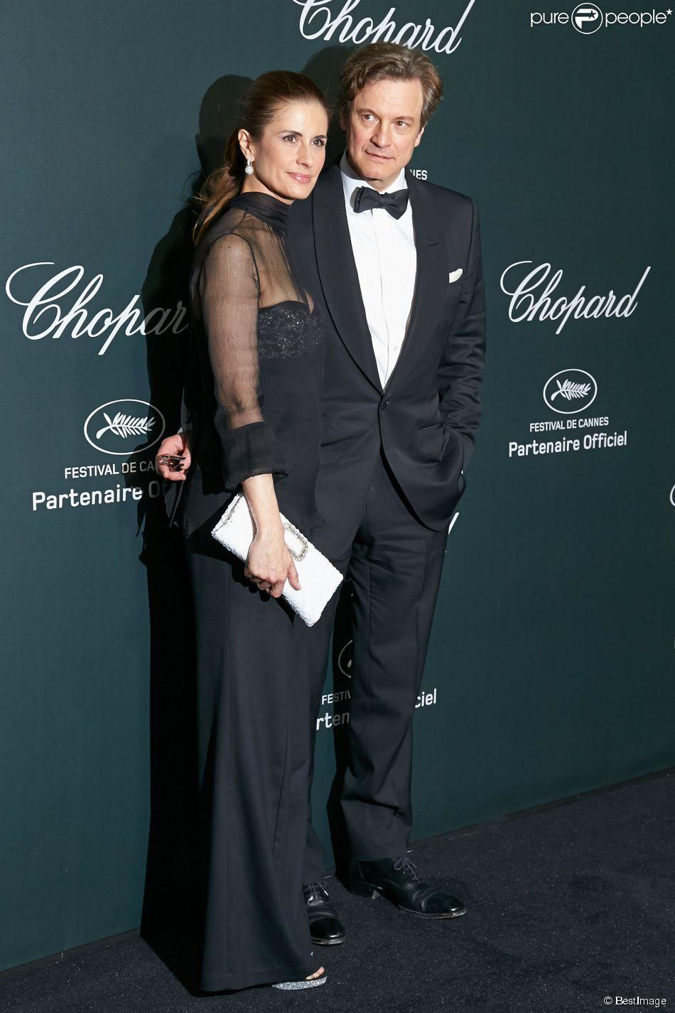 Colin Firth et sa femme Livia - Photocall de la soirée Chopard à l'aérodrome de Cannes-Mandelieu lors du 67e Festival de Cannes le 19 mai 2014
