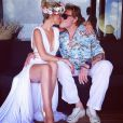 Johnny Hallyday et Laeticia Hallyday ont fêté les 10 ans de Jade et les 6 ans de Joy à Saint-Barth', le 5 août 2014.