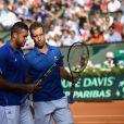 Richard Gasquet et Jo Wilfreid Tsonga lors de la demi-finale de la Coupe Davis entre la France et la République Tchèque le 13 septembre 2014 à Paris.