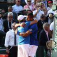 Arnaud Clement et Jo-Wilfried Tsonga lors de la demi-finale de la Coupe Davis entre la France et la République Tchèque le 13 septembre 2014 à Paris.
