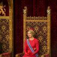 Le roi Willem-Alexander des Pays-Bas et la reine Maxima dans la Salle des Chevaliers lors du Discours du Trône, le 16 septembre 2014, à l'occasion du Prinsjesdag, l'inauguration de l'année parlementaire, à La Haye.