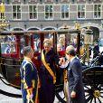 Le prince Constantijn, la princesse Laurentien des Pays-Bas  arrivent au Parlement à La Haye pour le Prinsjesdag, la cérémonie d'ouverture de l'année parlementaire, le 16 septembre 2014