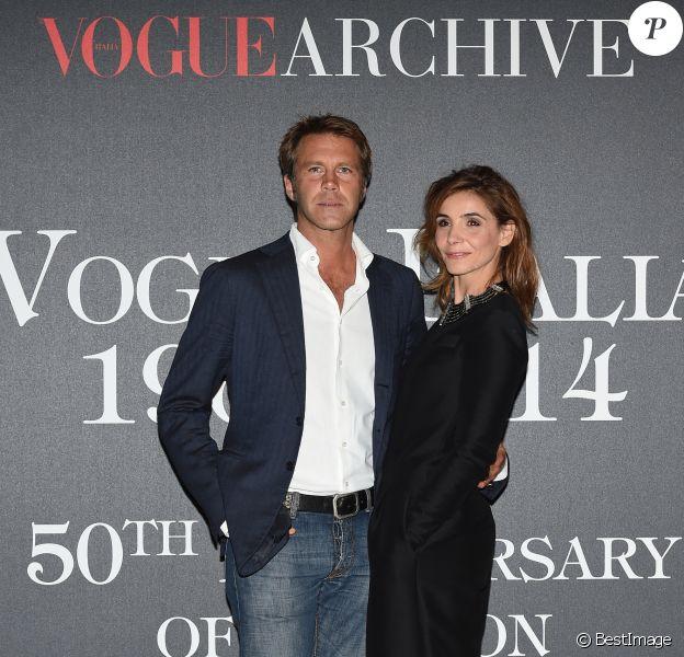 """Le prince Emmanuel Philibert de Savoie et Clotilde Courau (princesse de Savoie) - Photocall de la soirée """"Vogue 50 Archive"""" à Milan. Le 21 septembre 2014"""