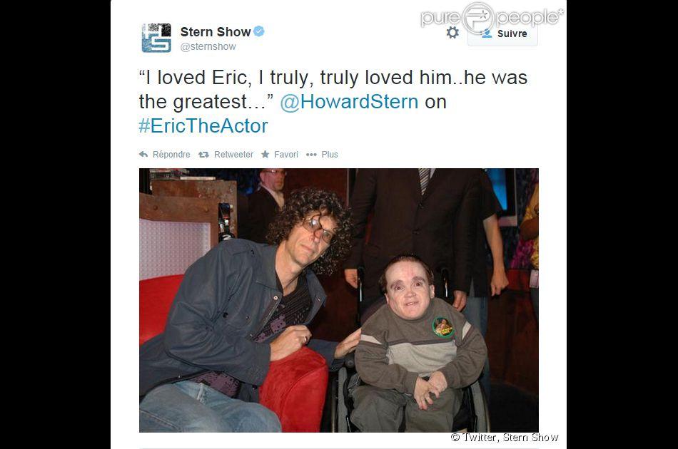 Howard Stern a rendu hommage à son ami Eric The Actor Lynch, mort le 20 septembre 2014