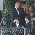 George Clooney et ses invités, au Cipriani, se rendent à son mariage avec Amal Alamuddin à Venise, le 27 septembre 2014