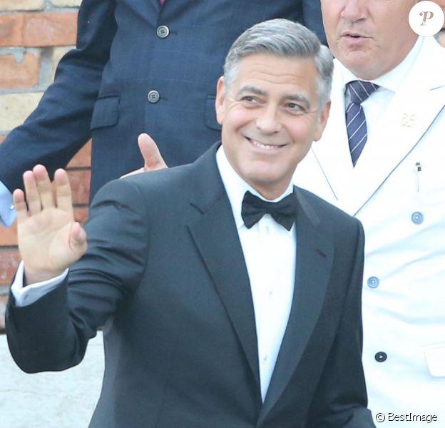 George Clooney part du Cipriani pour se rendre à son mariage avec Amal Alamuddin à l'Aman Canal Grande Venice à Venise, le 27 septembre 2014