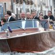 George Clooney et ses invités se rendent à son mariage avec Amal Alamuddin à Venise.  Mariage de George Clooney et Amal Alamuddin à l'Aman Canal Grande Venice à Venise, le 27 septembre 2014.