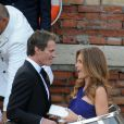 Rande Gerber et Cindy Crawford au départ du Cipriani.  Mariage de George Clooney et Amal Alamuddin à l'Aman Canal Grande Venice à Venise, le 27 septembre 2014.