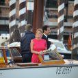Invités au départ du Cipriani. Mariage de George Clooney et Amal Alamuddin à l'Aman Canal Grande Venice à Venise, le 27 septembre 2014.