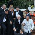 George Clooney et son père Nick Clooney - George Clooney et ses invités se rendent à son mariage avec Amal Alamuddin à Venise, le 27 septembre 2014. Tout le monde a quitté l'hôtel pour se rendre à la cérémonie.  George Clooney leaves with the guests the hotel to go to his wedding with Amal Alamuddin in Venice, on Septembre 27, 2014.27/09/2014 - Venise