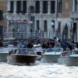 La flottille en mouvement pour le mariage de George Clooney et Amal Alamuddin à l'Aman Canal Grande Venice à Venise, le 27 septembre 2014.
