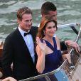 Cindy Crawford et Rande Gerber en bateau-taxi. Mariage de George Clooney et Amal Alamuddin, célébré à l'Aman Canal Grande Venice à Venise, le 27 septembre 2014.