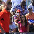 Benoît Paire lors du second tour de l'US Open, devant sa compagne Pauline, le 28 août 2014 à New York
