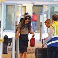 Amal Alamuddin Clooney arrive à l'Heathrow international airport, Londres, le 16 octobre 2014.