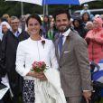 Sofia Hellqvist et le prince Carl Philip de Suède lors des 37 ans de la princesse Victoria.  Leur mariage aura lieu le 13 juin 2015.