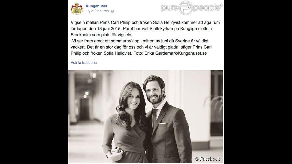 Le prince Carl Philip de Suède et Sofia Hellqvist célébreront leur mariage le 13 juin 2015 dans la chapelle royale, au palais Drottningholm, à Stockholm, a annoncé la cour suédoise le 23 octobre 2014.