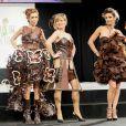 Véronique Mounier, Louise Ekland, Adeline Blondieau lors du défilé du 20ème Salon du Chocolat à la Porte de Versailles à Paris, le 28 octobre 2014.