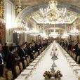- Dîner de gala au palais royal en l'honneur de la présidente du Chili Michelle Bachelet à Madrid en Espagne le 29 octobre 2014.  King Felipe and Queen Letizia host a Gala Dinner at The Royal Palace honouring the President of Chile Michelle Bachelet in Madrid, Spain on October 29, 201429/10/2014 - Madrid