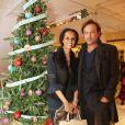 """Exclusif - Vincent Pérez et sa femme Karine Silla - Cocktail au """"Lafayette Maison"""" après le coup d'envoi des illuminations de Noël des Galeries Lafayette par Jerry Hall à Paris, le 5 novembre 2014."""