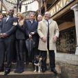 Tina Kieffer, Teddy Riner, Adriana Karembeu, Michel Drucker lors de la 154e vente aux enchères des Hospices de Beaune, le 16 novembre 2014 à Beaune