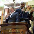 Michel Drucker, Teddy Riner et Adriana Karembeu lors de la 154e vente aux enchères des Hospices de Beaune, le 16 novembre 2014 à Beaune
