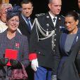 La princesse Caroline et la princesse Stéphanie de Monaco  à la sortie de la cathédrale de Monaco après la messe d'action de grâce célébrée par Monseigneur Barsi pour la Fête nationale, le 19 novembre 2014