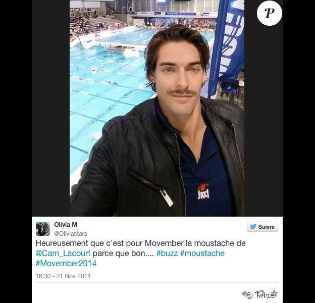 Camille Lacourt et sa moustache pour l'opération Movember.