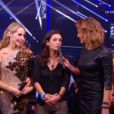 Adeline Blondieau et Bénédicte Delmas sont venues encourager Tonya Kinzinger dans Danse avec les stars 5 sur TF1. Octobre 2014.