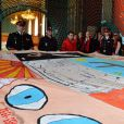 """La princesse Stéphanie et le prince Albert II de Monaco participent au déploiement des """"Courtepointes"""" en mémoire des victimes du SIDA, au Musée de l'Océanographie à Monaco, le 28 novembre 2014. L'opération « Courtepointes » (quatrième édition), est un travail artistique sur toile, individuel et collectif qui rend hommage aux personnes disparues du Sida. Cette démarche de mémoire a été initiée en 1987 par la fondation « Names Project Aids Memorial Quilt » afin d'illustrer les ravages que provoquaient cette maladie. Chaque courtepointe comprend huit toiles cousues entre elles, sur une surface de 4m x 4m ; elles portent toutes le nom d'une personne disparue et ont toutes été réalisées par des personnes de FAM, la plupart d'entre elles vivant avec le VIH.  President of Fight Aids Monaco and U.N. Aids Ambassador, Princess Stephanie and her brother Prince Albert II of Monaco attend 'The Courtpointes' event at Oceanographic Museum in Monaco, on November 28, 2014. This is to commemorate the lifes of persons lost to AIDS. This action was initiated since 1987 by 'Names Project Aids Memorial Quilt ' foundation. The AIDS Memorial Quilt measures approximately twelve feet square, and a typical block consists of eight individual three foot by six foot panels sewn together.28/11/2014 - Monaco"""