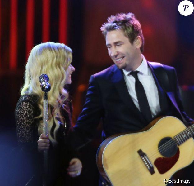 Avril Lavigne et Chad Kroeger lors d'un concert a Vancouver Le 18 octobre 2013.