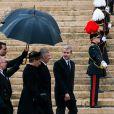 La reine Mathilde et le roi Philippe de Belgique - Obsèques de la reine Fabiola de Belgique en la cathédrale des Saints Michel et Gudule à Bruxelles. Le 12 décembre 2014.