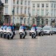 La dépouille mortelle de la Reine Fabiola de Belgique arrive au Palais Royal de Bruxelles, en la présence de la famille royale de Belgique, le 9 décembre 2014