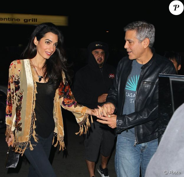 George Clooney et sa femme Amal à Los Angeles, le 14 décembre 2014.