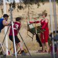 Liam Hemsworth et Kate Winslet sur le tournage de The Dressmaker à Horsham, Australie, le 10 décembre 2014.