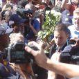 Oscar Pistorius lors de son arrivée au tribunal de Pretoria le 21 octobre 2014, dernier jour de son procès pour le meurtre de Reeva Steenkamp qui l'a vu être condamné à cinq ans de prison