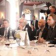 Exclusif - Patrick Klugman, Olivier Royant (patron de Paris-Match) Catherine Nayl (directrice générale adjointe de l'information de TF1) assistent à un événement organisé par Le Cercle des Médias en l'honneur de Shimon Peres à Paris le 17 décembre 2014.