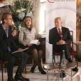 Exclusif - Shimon Peres, Antoine Guélaud (Directeur de la rédaction de TF1 et président de l'association), et Elisabeth Dodard (traductrice internationale) assistent à un événement organisé par Le Cercle des Médias, à Paris le 17 décembre 2014.