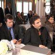 Exclusif - Patrice Romedenne (Télématin) et Richard Orlinski assistent à un événement organisé par Le Cercle des Médias en l'honneur de Shimon Peres, à Paris le 17 décembre 2014.