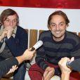 """Exclusif - Pascal Demolon, Louis-Julien Petit - L'équipe du film """"Discount"""" fait la promotion du film à Bordeaux, le 18 décembre 2014."""
