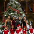 Le président Barack Obama, son épouse Michelle et leurs filles Malia et Sasha lors de l'enregistrement du concert Christmas in Washington à Washington, le 14 décembre 2014