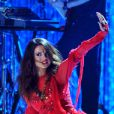 Selena Gomez et sur scène pour sa polémique prestation aux MTV Movie Awards à Los Angeles, le 14 avril 1013.