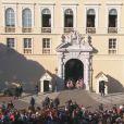 Cérémonie de présentation officielle des jumeaux la princesse Gabriella et le prince Jacques de Monaco par le prince Albert et la princesse Charlene, le 7 janvier 2015 au palais princier. Image Monaco Info.