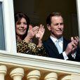 La princesse Caroline de Hanovre, Christopher LeVine  lors de la présentation officielle des   jumeaux Gabriella et Jacques, enfants du prince Albert II et de la princesse Charlene, au balcon du palais princier à Monaco le 7 janvier 2015.