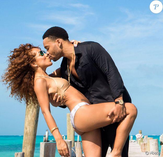Le fils d'eddie Murphy, Eric Murphy pose en compagnie de sa petite-amie Daisy Espana sur les plages de Cancun à Mexico, le 3 janvier 2015.