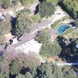 Vues aériennes de la maison de Benji Madden et Cameron Diaz à Beverly Hills où ont lieu les préparatifs de leur mariage, le 5 janvier 2015.