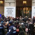 Hommage à Tignous (Bernard Verlhac) de la mairie de Montreuil, le 15 janvier 2015. Le dessinateur est mort à 57 ans, assassiné dans l'attentat contre Charlie Hebdo.