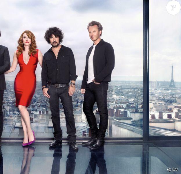 Première photo officielle du jury de Nouvelle Star 2014 constitué d'André Manoukian, Elodie Frégé, Yarol Poupaud et Sinclair. Cliché révélé le 4 septembre 2014 sur Twitter.