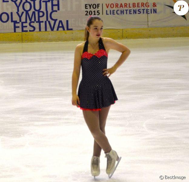 Exclusif - La princesse Alexandra de Hanovre, passionnée de patinage artistique et scolarisée en sport études, présentait lundi 26 janvier 2015 son programme court lors du Festival olympique de la jeunesse européenne (FOJE) d'hiver 2015 à Dornbirn, en Autriche.